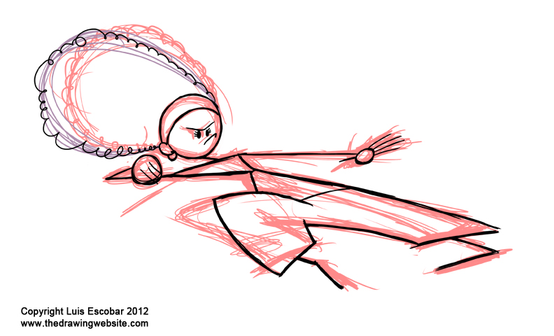 Easy Drawings Stick Figure Rough Step 02