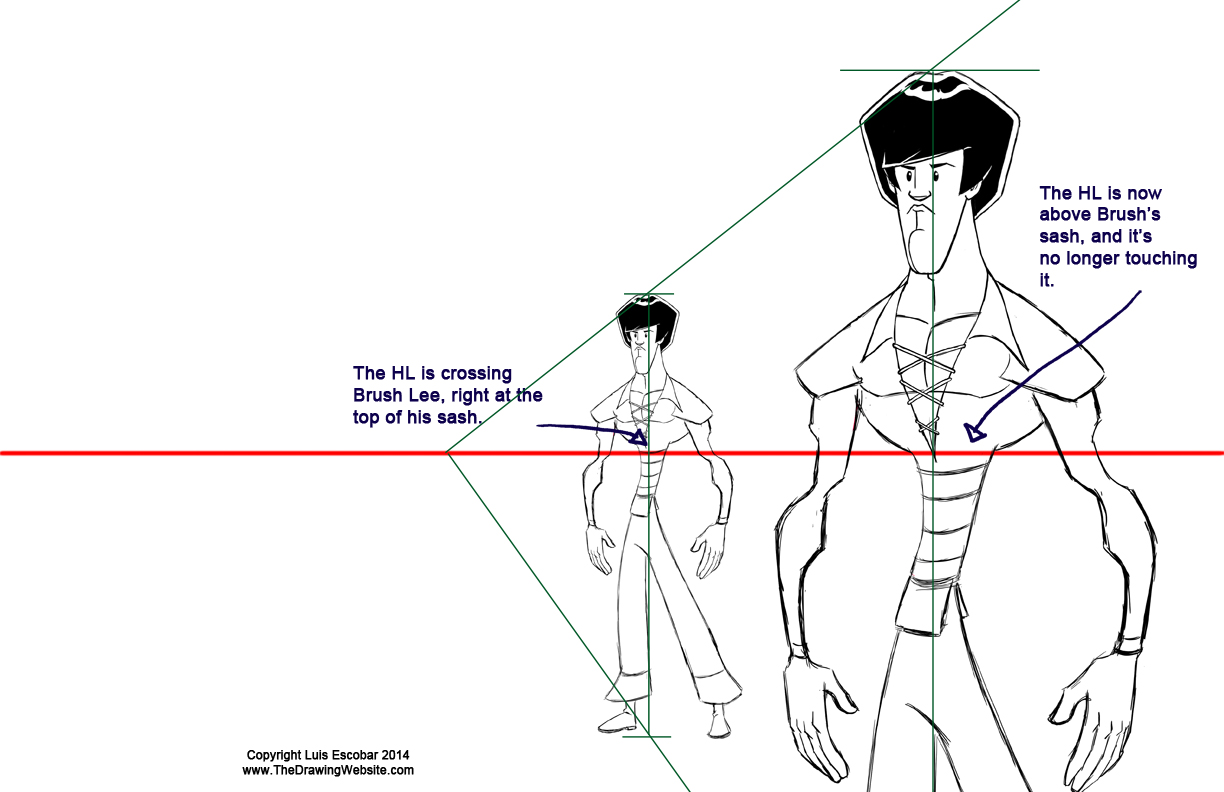 Enlarging a character using vanishing points Error