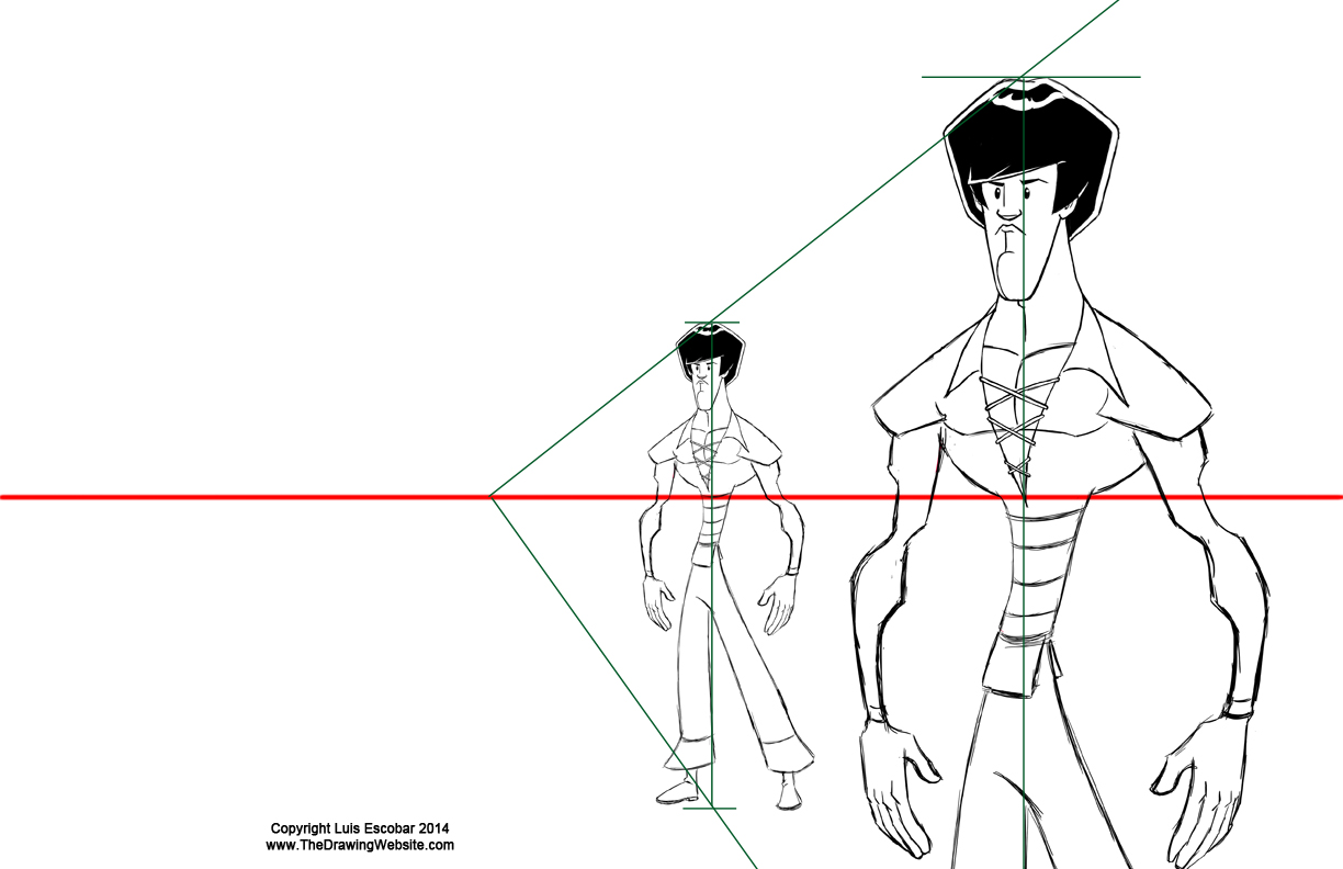 Enlarging a character using vanishing points