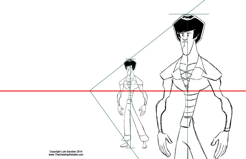 Enlarging a character using vanishing points