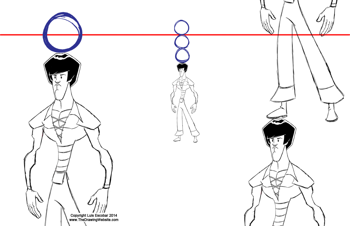 Scribble Drawing Website : High horizon line characters moving in space