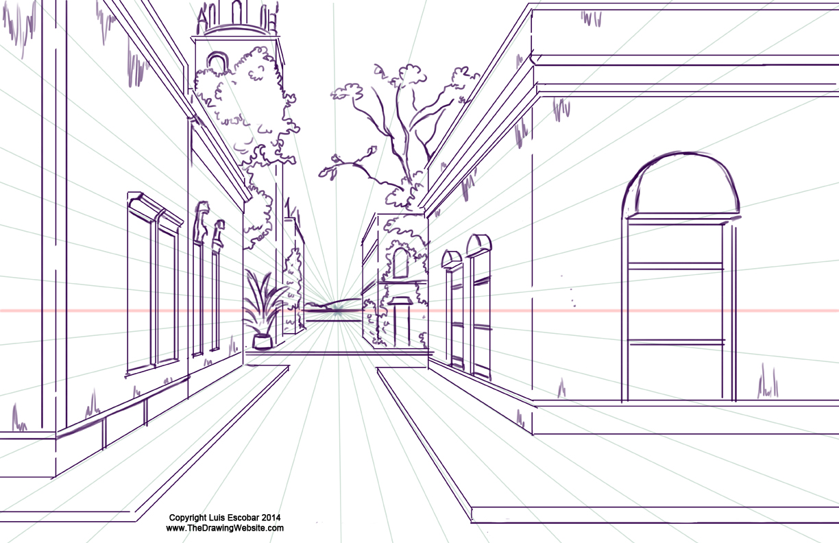 One point perspective town
