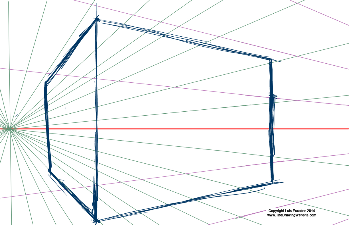 Two Point Perspective large box vanishing point off the page