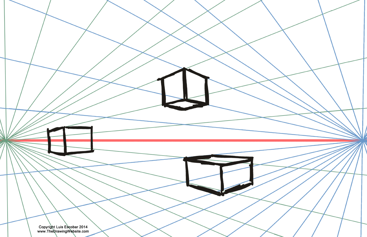 Two point perspective boxes