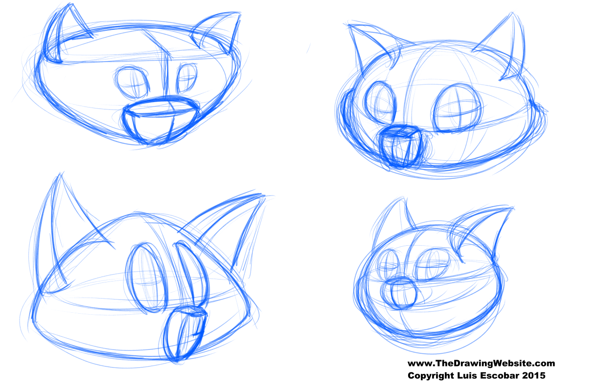 Cat head contruction from compound shapes