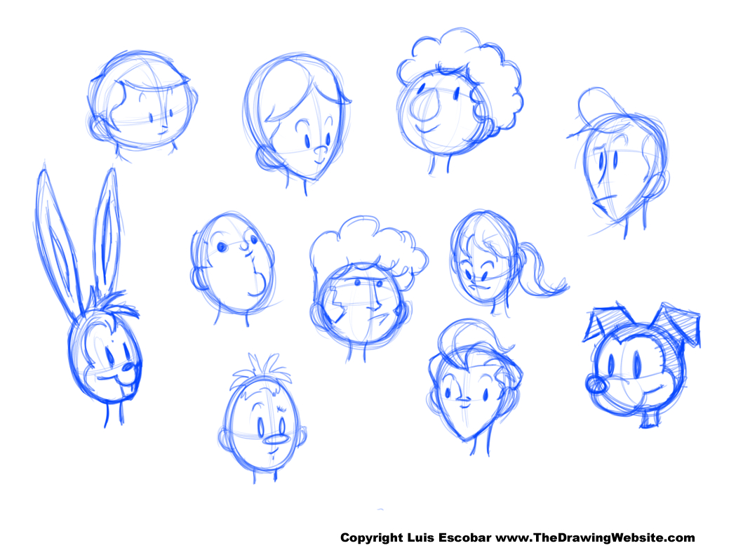 Head drawing shapes example heads